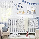Nautical Baby Bedding Set for Boys Sail Away Ocean Anchor Printed Nursery Crib Bedding Set with Bumper Navy and White by Brandream, 11 Pieces