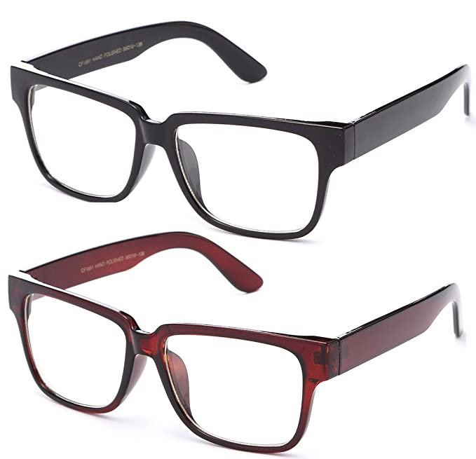 1b9e0812617f Image Unavailable. Image not available for. Color  Newbee Fashion - Unisex  Thick Squared Frame Quality ...