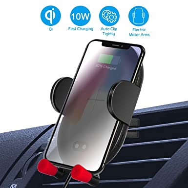 Wireless Car Charger Mount, Automatic Clamping QI Fast Charge, 10W Car Charger Adjustable Gravity Air Vent Phone Holder Compatible with iPhone Xs Max XR X 8 8 , Samsung S10 9 8 7 Edge Note 9 and More