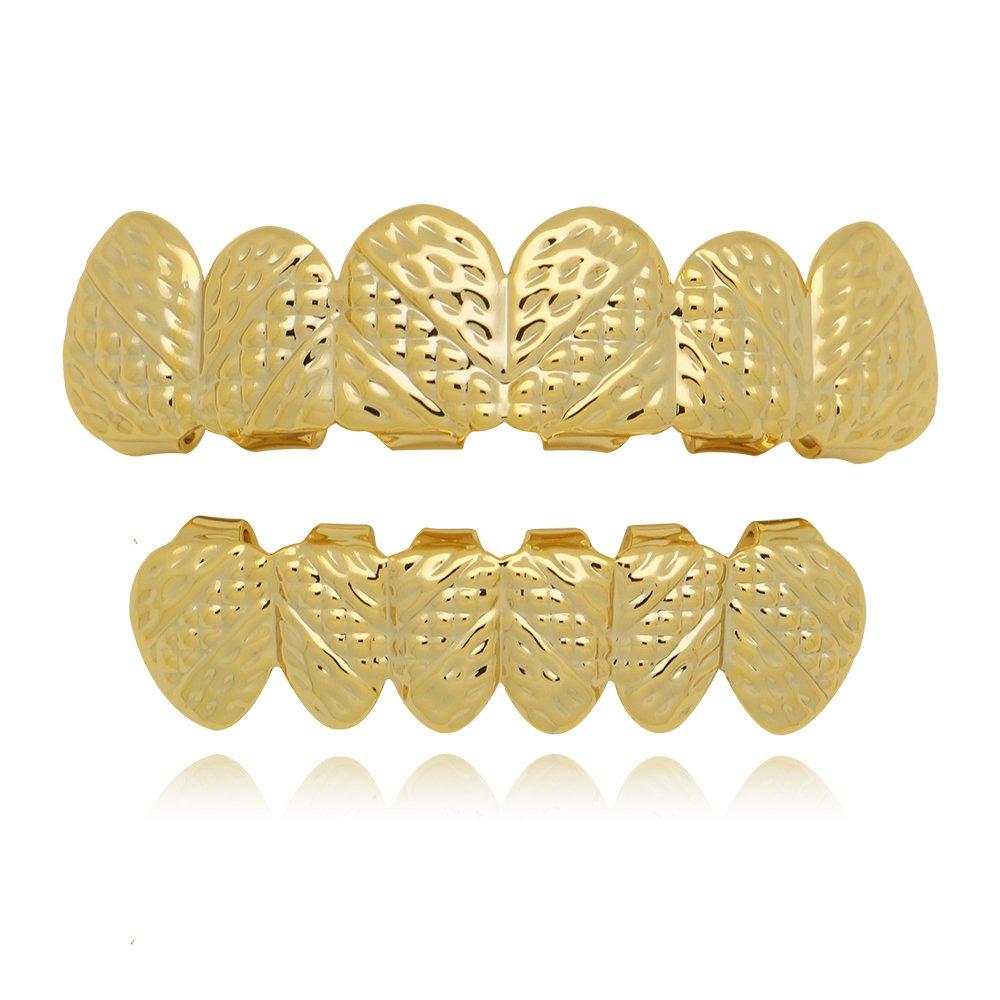Lureen 14k Gold Oblique Texture Grills Hip Hop 6 Teeth Top and Bottom Set LD0009