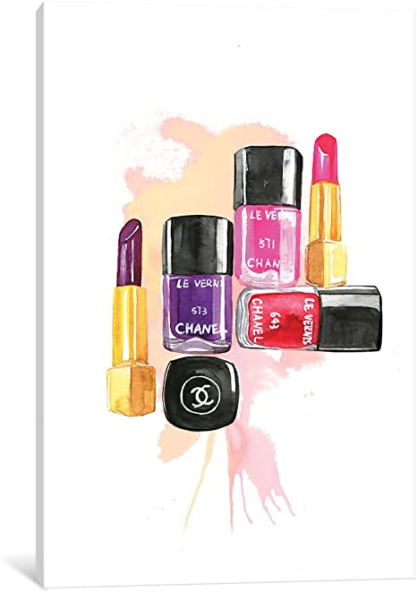 Amazon Com Icanvasart Icanvas Nail Polish And Lipstick Gallery Wrapped Canvas Art Print By Rongrong Devoe 18 X 12 Posters Prints