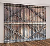 LB Vintage Wooden Farmhouse Door 3D Window Curtains for Living Room Bedroom,Rustic Barn Door American Country Style Room Darkening Blackout Curtains Drapes 2 Panels,42 x 84 Inches