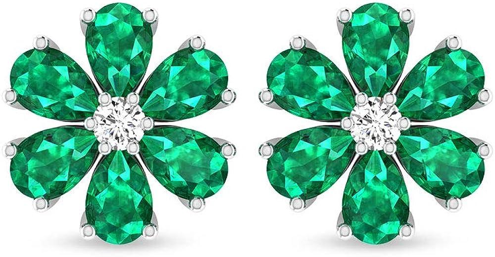 Pendientes de esmeralda con diseño de flor de esmeralda de 2,46 ct, certificado por IDCL, pendientes de piedra de nacimiento de mayo, pendientes de boda nupcial, tornillo hacia atrás