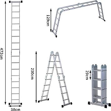 Escalera aluminio multifunción Plegable 4,72 M 16 peldaños andamio escalera carga max 150 kg plata Neuf 12: Amazon.es: Bricolaje y herramientas