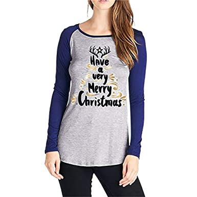 hulkay clearance womens christmas tops upgrade stylish letter print panel tee shirt ladies casual