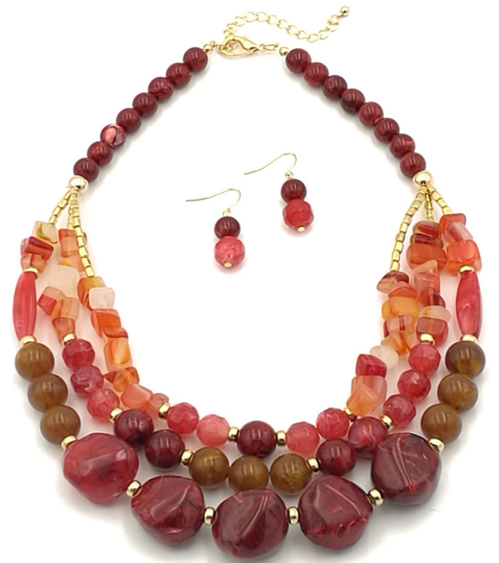 Shineland Elegant 3-Row Layered Handmade Acrylic Glass Pearl Stone-simulated Beaded Necklace Earrings Set (Style # 1(red))