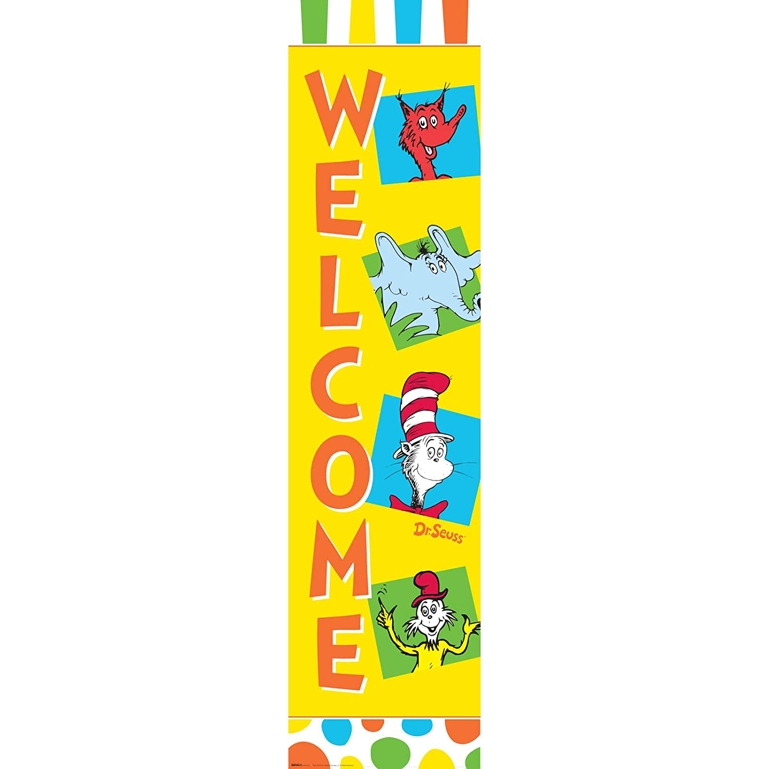 BirthdayExpress Dr Seuss Cat in The Hat Room Decor - Vertical Paper Banner