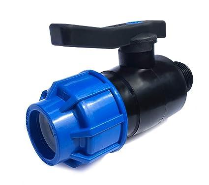 Kugelhahn 20 x 20 PP Rohr Verschraubung Blau PN16 Klemmfitting