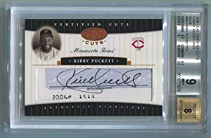 Kirby Puckett 2004 Leaf Certified Cuts Checks Signature Blue #39 Beckett 9 Autograph 5 /5
