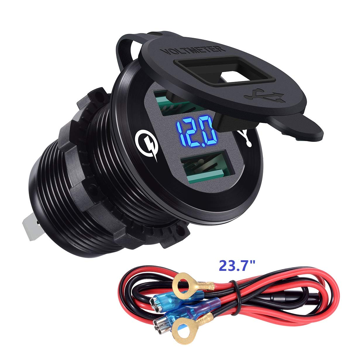 YonHan Quick Charge 3.0 Dual USB Charger Socket, Waterproof Aluminum Power Outlet Fast Charge with LED Voltmeter & Wire Fuse DIY Kit for 12V/24V Car Boat Marine ATV Bus Truck and More