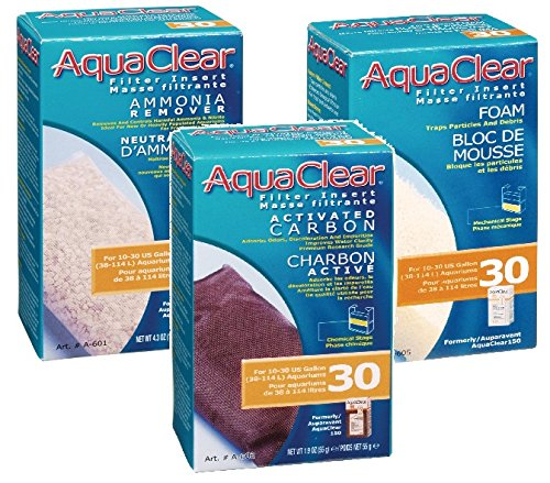 Aquaclear 30 Replacement Media Bundle: Sponge, Carbon, Ammonia Remover