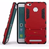 Heartly Xiaomi Redmi 3S Prime / 3S Back Cover Graphic Kickstand Hard Dual Rugged Armor Hybrid Bumper Case - Hot Red