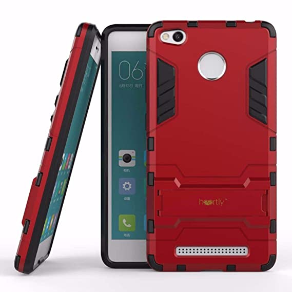 newest 6eaeb eb445 Heartly Graphic Kickstand Hard Dual Rugged Armor Hybrid Bumper Back Case  Cover for Xiaomi Redmi 3S Prime / 3S - Hot Red