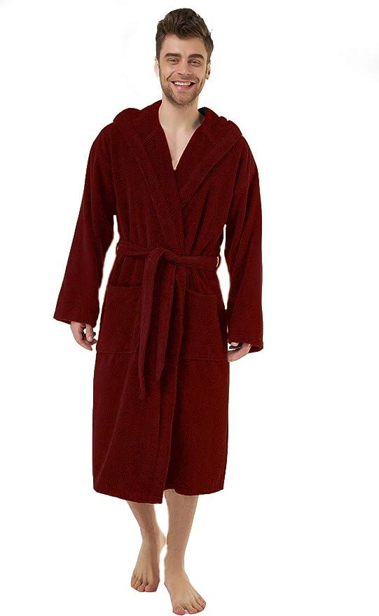 Soft 2 Pockets Bathrobe Men Belt No Chemicals Hood Absorbent 100/% Turkish Cotton