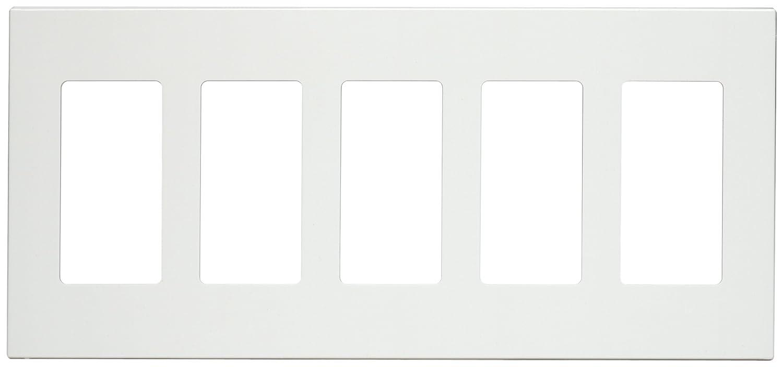 Leviton 80321-SW 5-Gang Decora Plus Screwless Snap-On Wallplate White