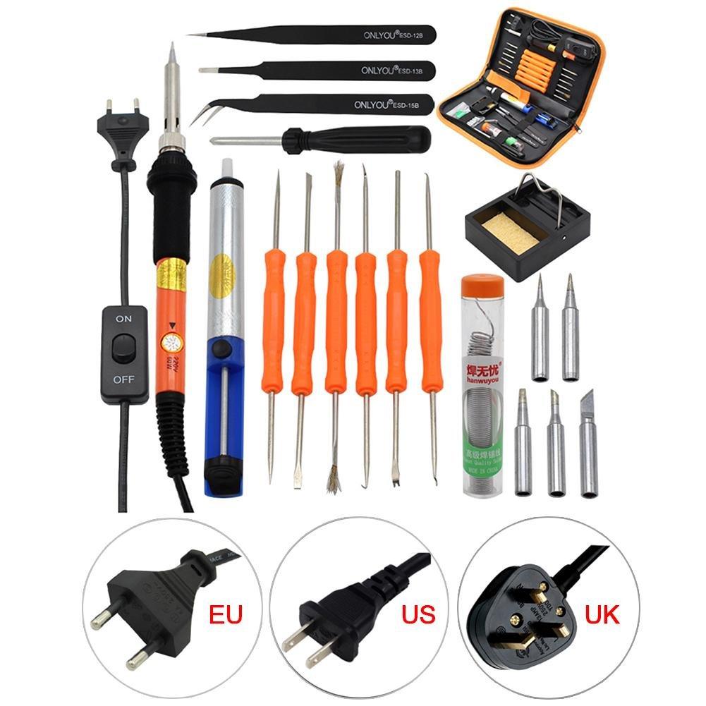 Kit de soldadura Kit hierro a soldar soldador Kit eléctrico soldar caja de herramientas electrónica temperatura regulables 200 ℃ ~ 450 ℃, 20 pcs a Placé la ...