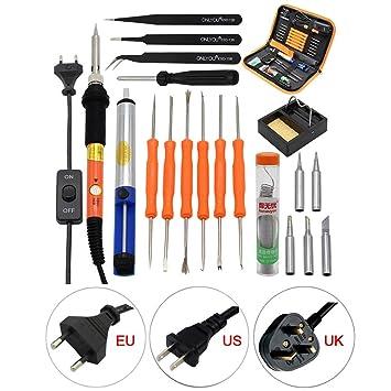 Conjunto de soldador 20 PCS Conjunto Kit de herramienta de soldador eléctrico Temperatura de soldadura Kit
