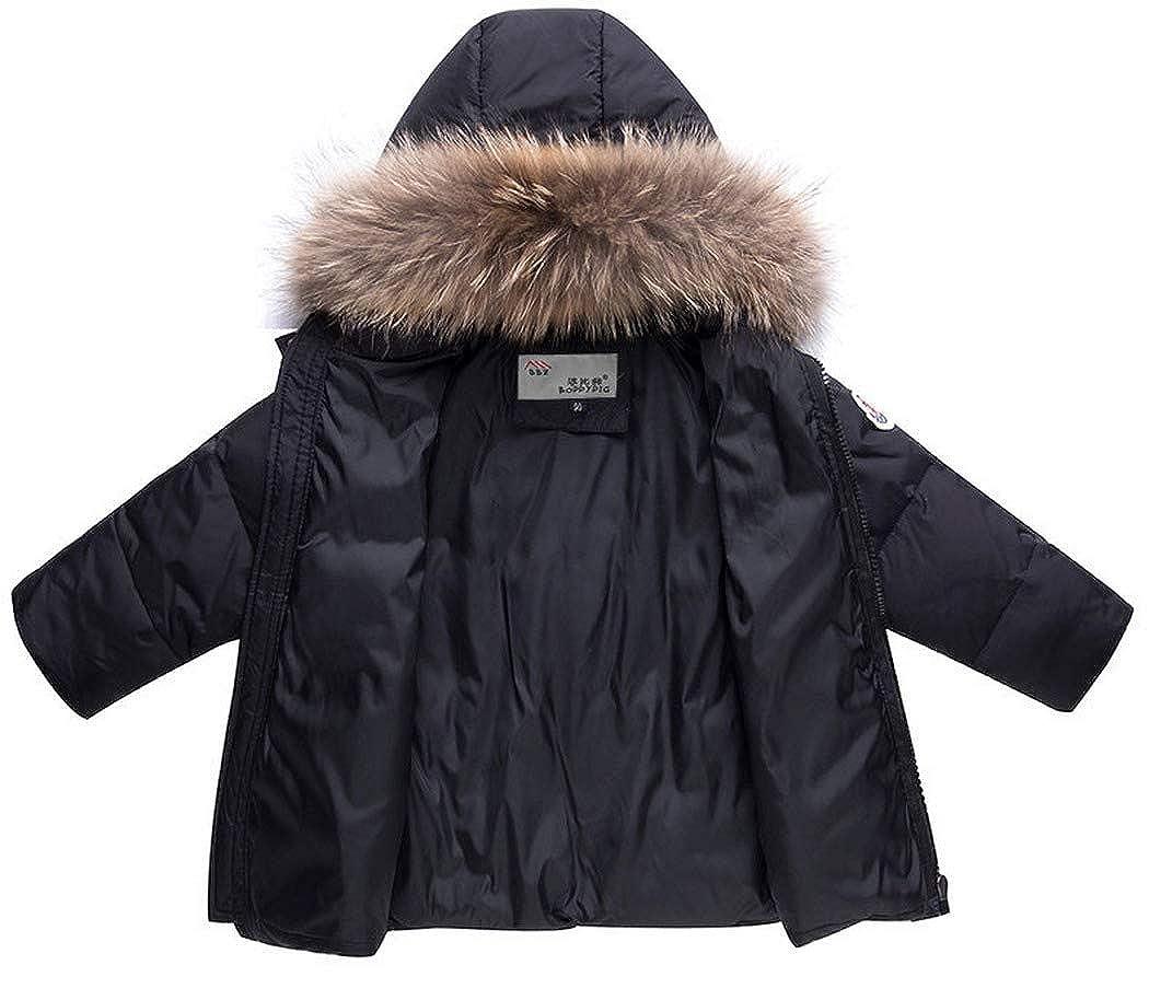 Premewish Unisex Baby Schneeanzug Set,2 tlg Daunenjacke und Schneelatzhose,Kapuze mit Abnehmbaren Pl/üschbesatz 6001