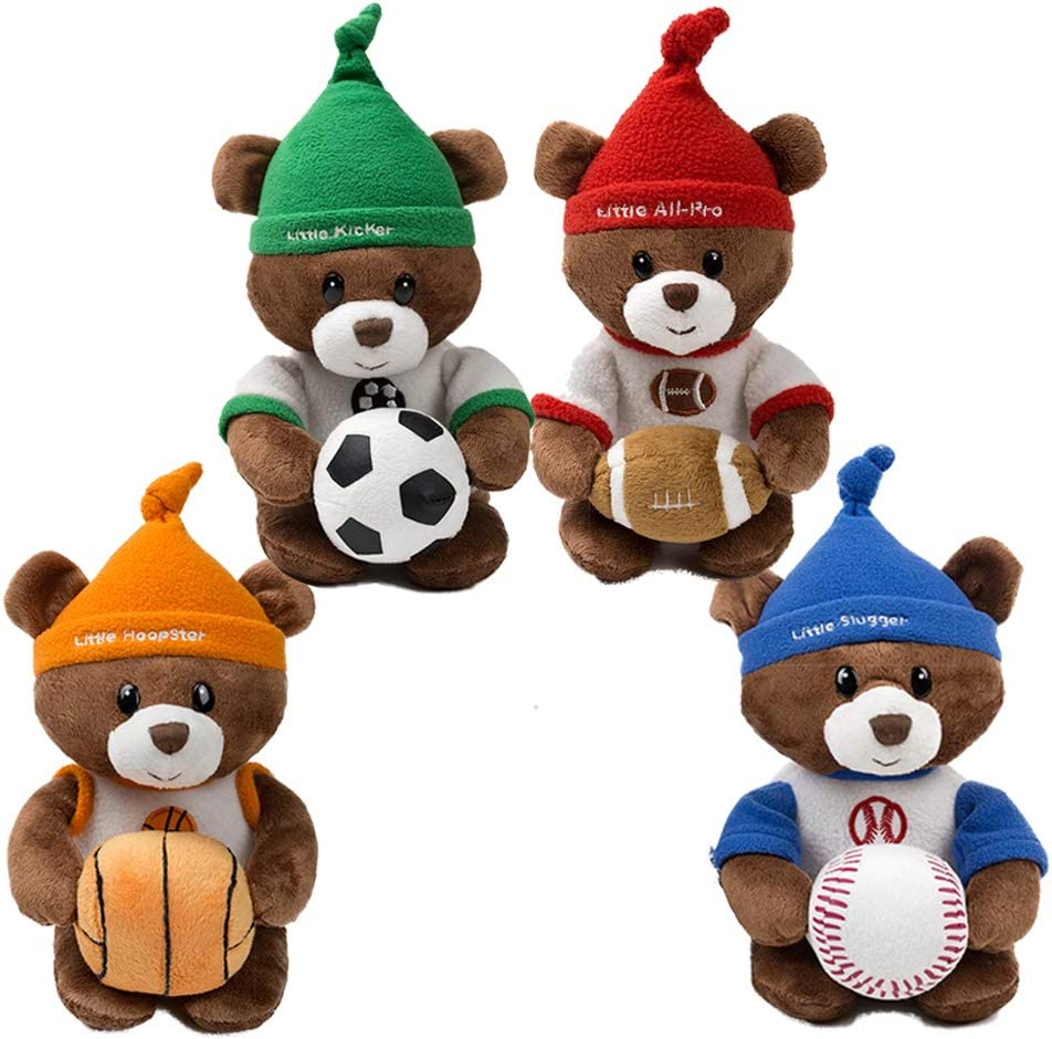 Stuffed Animal Teddy Bear Sports Plush Soft Toys 6.5'' 4Pcs (Football, Basketball, Baseball, Soccer)