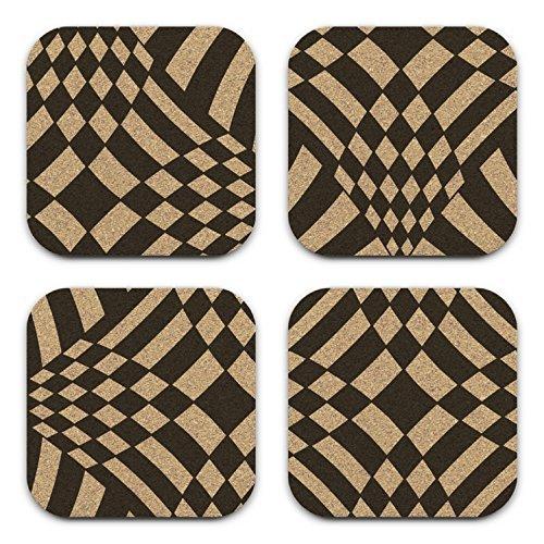 Op Art Psychedlic Retro Mod Cork Coaster Set
