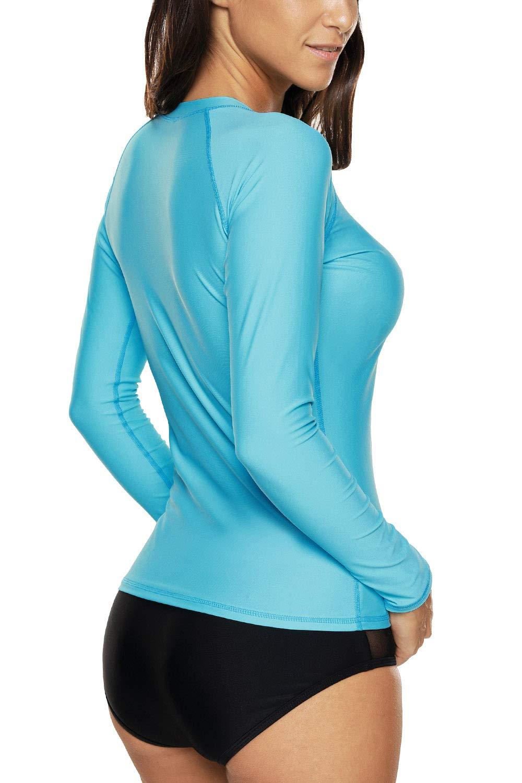 Vegatos Women Long Sleeve Rash Guard UPF 50 Swim Shirt Athletic Swimsuit Tops