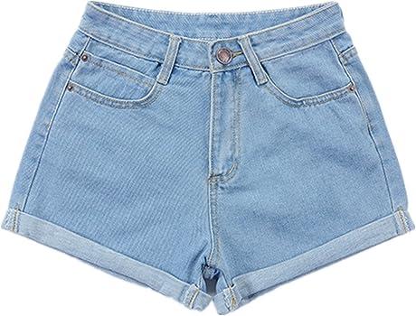 a2da406ab3 Women Denim Shorts Vintage Retro High Waist Blue Curling Short Jeans  Juniors Summer Folded Hem Denim Shorts. Weigou Women Denim Shorts Vintage  Retro High ...