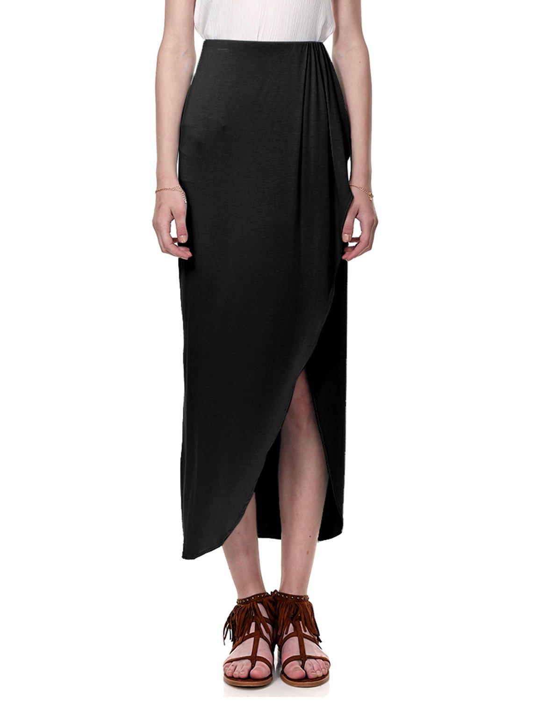 Regna X for Women's Slim fit Jet Black Cover up Medium Floor Length Maxi Skirt