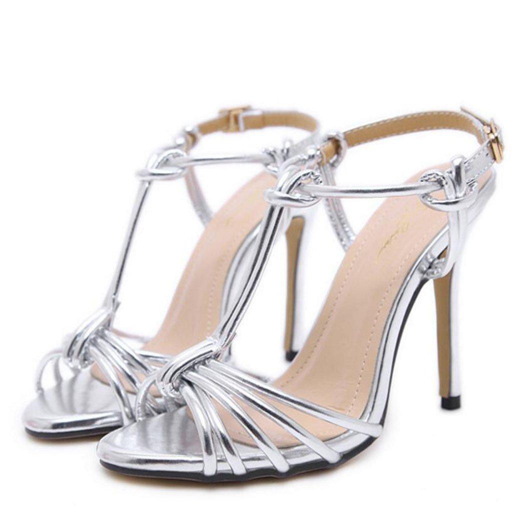 LOHU Open Toe High Heels Sommer Damen Stiletto Heels Römische Sandalen Schwarzes Gold Silber Silber 39EU