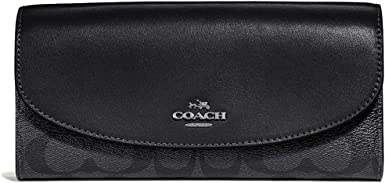 Coach Womens Boxed Slim Envelope Leather Wallet in Signature Canvas