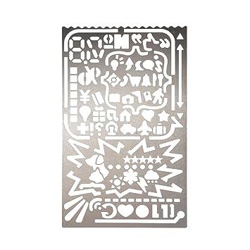 Plantilla Hueca de Dibujo Molde de Acero Inoxidable de Pintura Regla Hueca para DIY Dibujar(#3): Amazon.es: Hogar