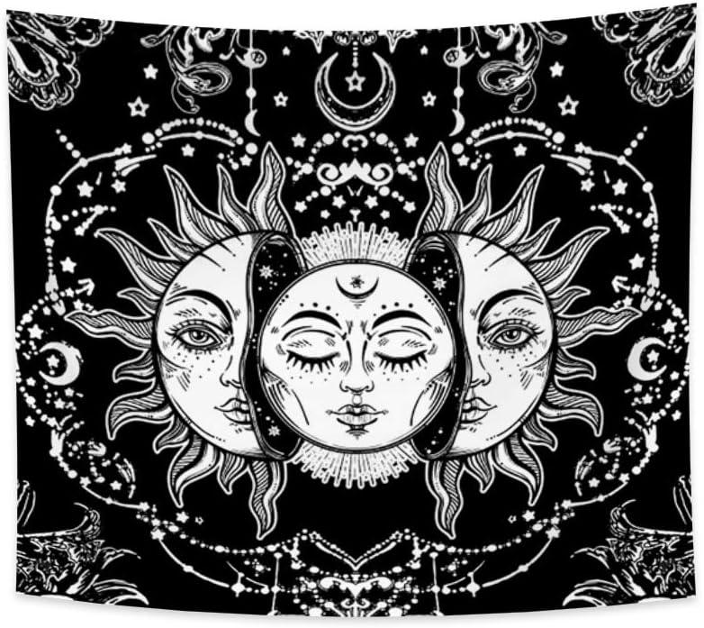 Miueapera Tapisserie Tissu Polyester Tapisserie Psych/éd/élique Tenture Murale Noir Et Blanc Univers Mystique /Étoiles Tapisserie Murale Montagne Salon Chambre Art Mural 100x70cm