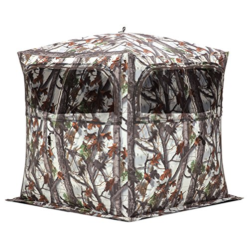 Hunting Snow Camo (Barronett Blinds GR250BTS Grounder 250 Pop Up Portable 2 Person Blind, Bloodtrail Snow Camo)