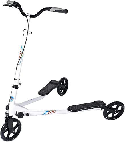 AODI 3 Wheel Foldable Scooter Swing Scooter Tri Slider Kick Wiggle Scooters Push Drifting with Adjustable Handle for Boys Girl Adult Age 8 Years Old and Up
