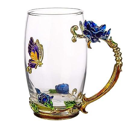 COAWG Glass Tea Cup 12oz Lead Free Handmade Enamel Butterfly and Blue Rose Flower Tea  sc 1 st  Amazon.com & Amazon.com | COAWG Glass Tea Cup 12oz Lead Free Handmade Enamel ...