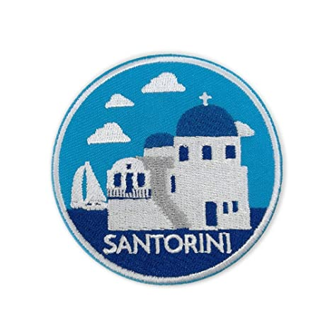 Santorini - Parche bordado para planchar o coser, diseño de Grecia ...