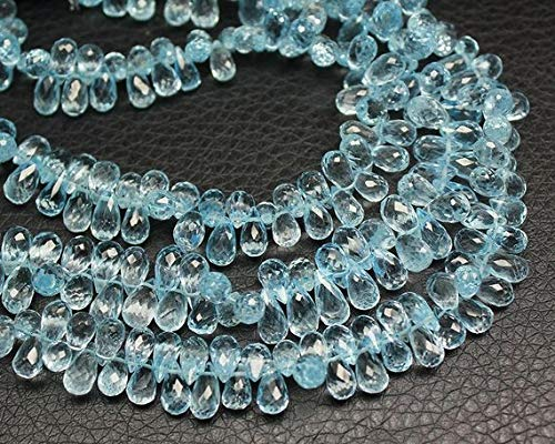 Beads Bazar Natural Beautiful jewellery Natural Sky Blue Topaz Faceted Briolette Tear Drop Gemstone Loose Craft Beads Strand 8