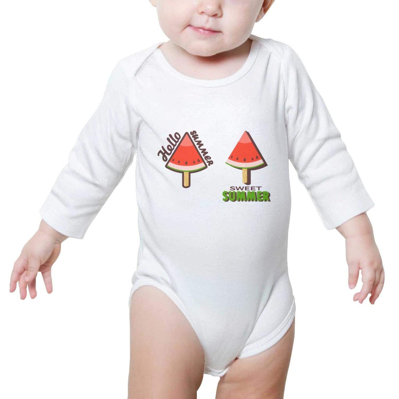 Happy National ice Cream Day 2018 Watermelon Long Sleeve Cute Baby Onesies Romper Cute for Newborn Boys Girls
