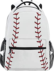 Red Stitching Baseball Laptop Backpack, White Ball Water Resistant College Students Bookbags Elementary School Bags Travel Computer Notebooks Daypack Bookbag for Men Women Kids Boys Girls