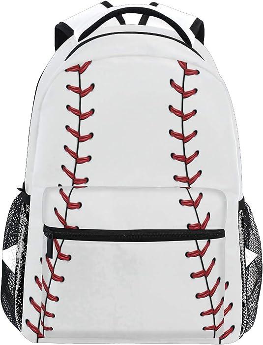 Red Stitching Baseball Laptop Backpack, White Ball Water Resistant College Students Bookbags Elementary School Bags Travel Computer Notebooks Daypack Bookbag for Men Women Kids Boys Girls