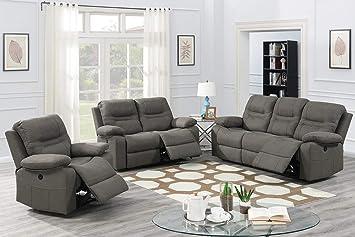 Amazon.com: Juego de 3 sofás reclinables de piel sintética ...