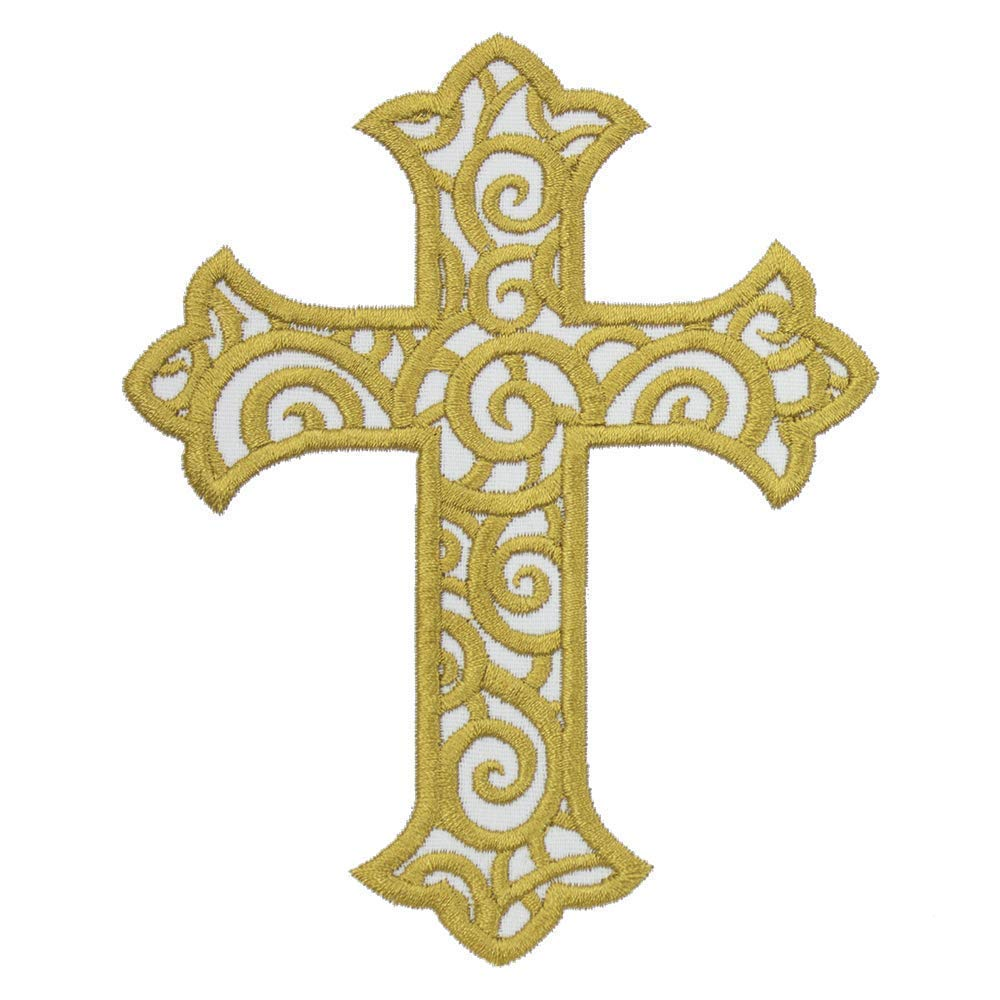 Cross with Scrolls Patch in your choice of sew on or iron on patch