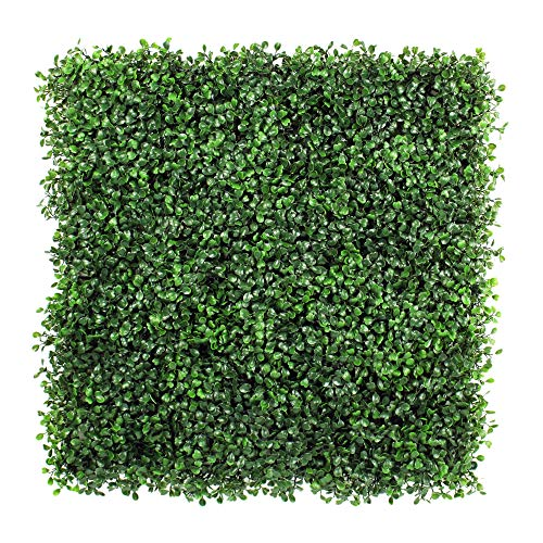 ULAND Artificial Boxwood Hedges Panels, Faux Grass Wall, Shrubs Bushes Backdrop, Garden Privacy Screen Fence Decoration, Pack of 6pcs 20