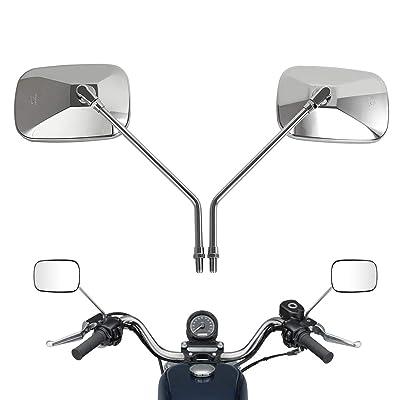 10MM Chrome Motorcycle Handlebar Rear view Side Mirrors For Harley KTM Aprilia Honda Kawasaki Suzuki Cruiser Scooter: Automotive
