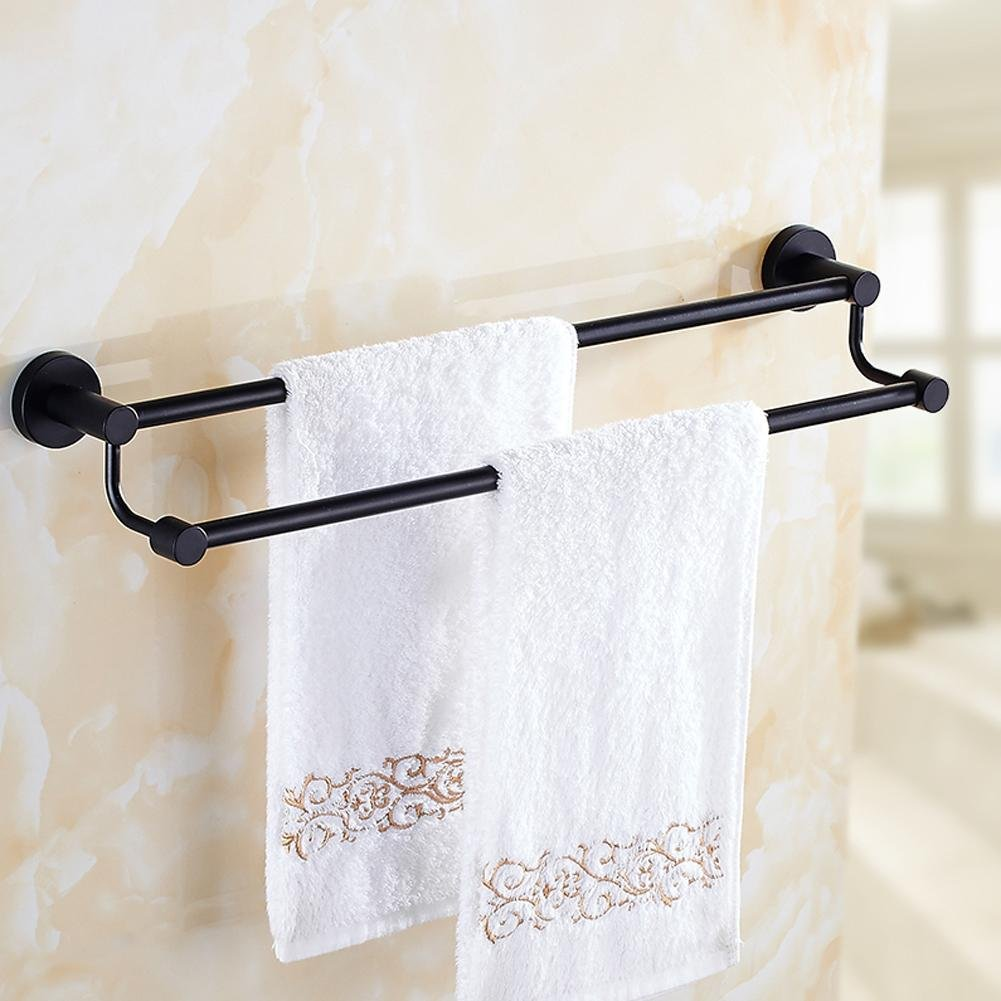 Good yong black retro towel rack double rod stainless for Good bathroom accessories