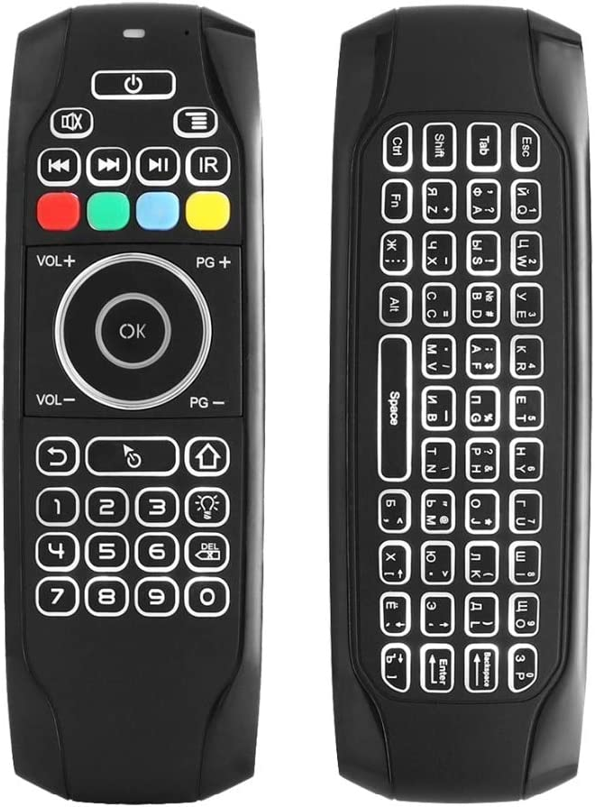 Calvas G7 2.4G Backlit Wireless Air Mouse with Keyboard 6-Axis Gyro Smart Remote Control For X96 Tv box Russian//English Double Sided Color: Backlight Russian