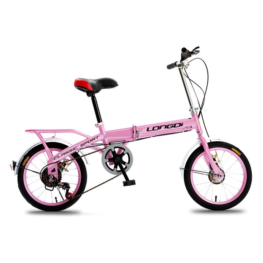 子供用折りたたみ自転車16インチキッズバイク4-7年変速スピードバンパーバイクハイカーボンフレーム、ブラック/ピンク/ブルー/グリーン (Color : Pink)   B07CZ9TJFD
