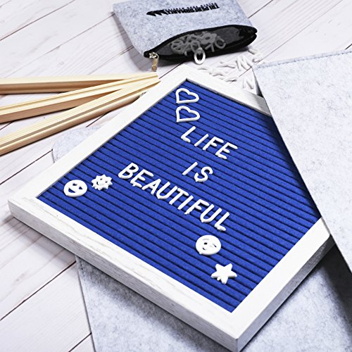 Blue Felt Letterboard White Frame 10 x 10 | 340 Letters, Symbols and Emojis. Changeable Letter Board with Unique White Oak Frame and White Characters. Free Stylish Canvas Bag (Blue, 10 x 10) by Tri Performance