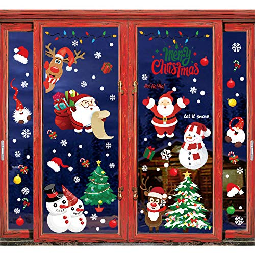 Ivenf 4 Sheets Extra Large Christmas Window Clings Decal Holiday Decor, Santa Snowman Reindeer Tomte Snowflake Tree Stockings Xmas Decorations