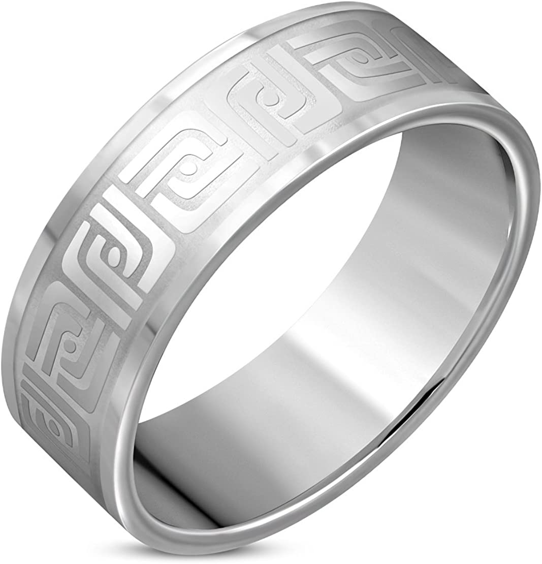 Stainless Steel Matte Finished Greek Key// Labyrinth// Maze Flat Band Ring