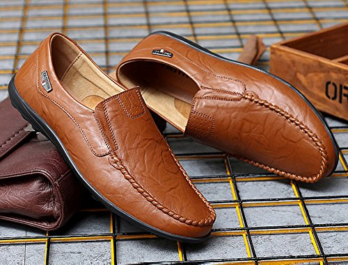 Shinysky Hommes Premium En Cuir Véritable Slip Sur Mocassins Respirant Conduite Chaussures De Mode Pantoufle 1887brown